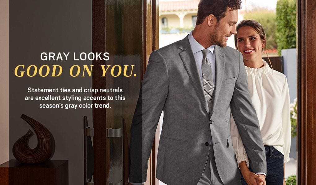 c1bf7c7e96 Gray Looks Good on you. Statement ties and crisp neutrals are excellent  styling accents to