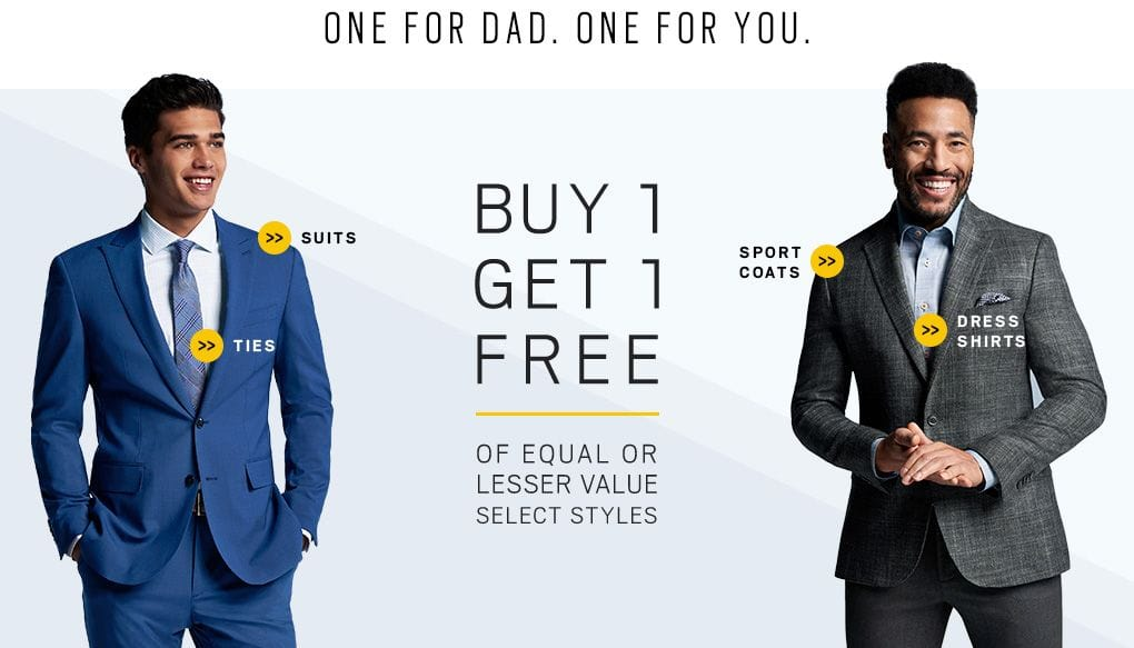 5ad90bfae1e Buy 1 Get 1 Free of Equal or lesser value select styles. Suits