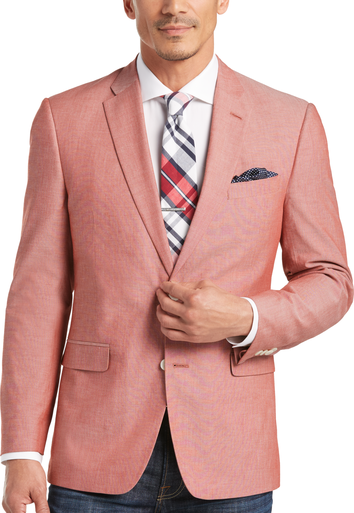 Tommy Hilfiger Red Chambray Slim Fit Sport Coat - Men's Slim Fit ...