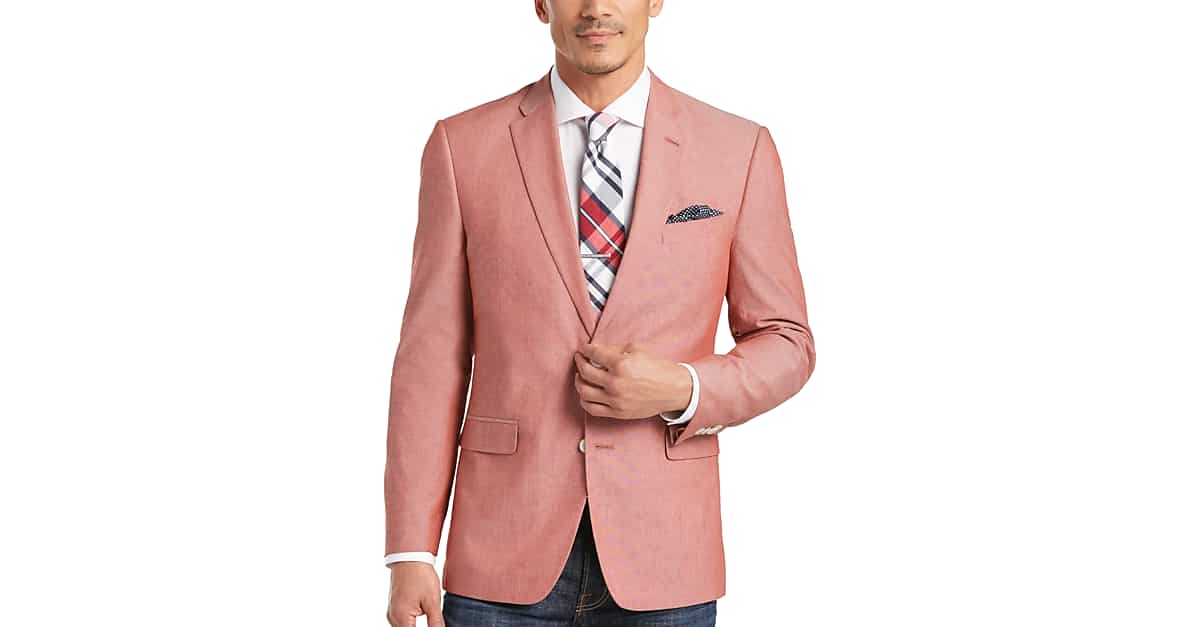 tommy hilfiger red chambray slim fit sport coat men s slim fit