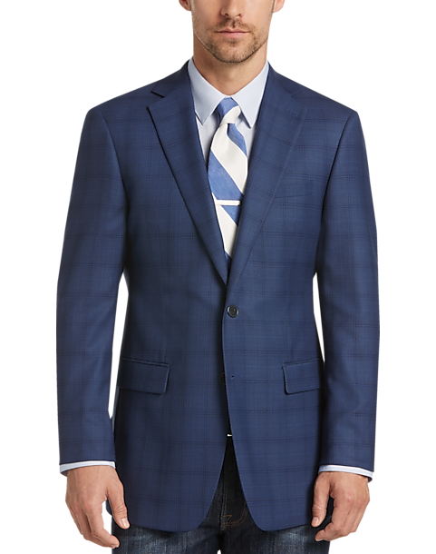 Calvin Klein Blue Plaid Extreme Slim Fit Sport Coat - Men's ...
