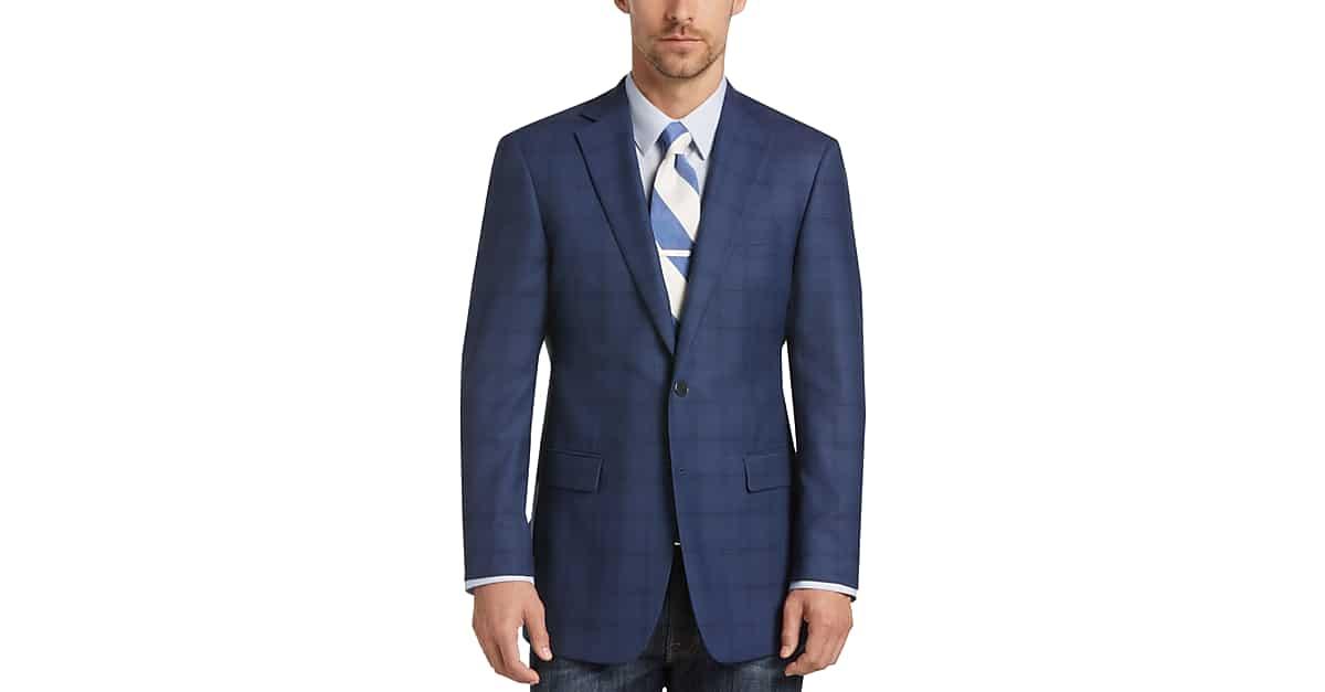 Calvin Klein Blue Plaid Extreme Slim Fit Sport Coat - Men's Sport ...