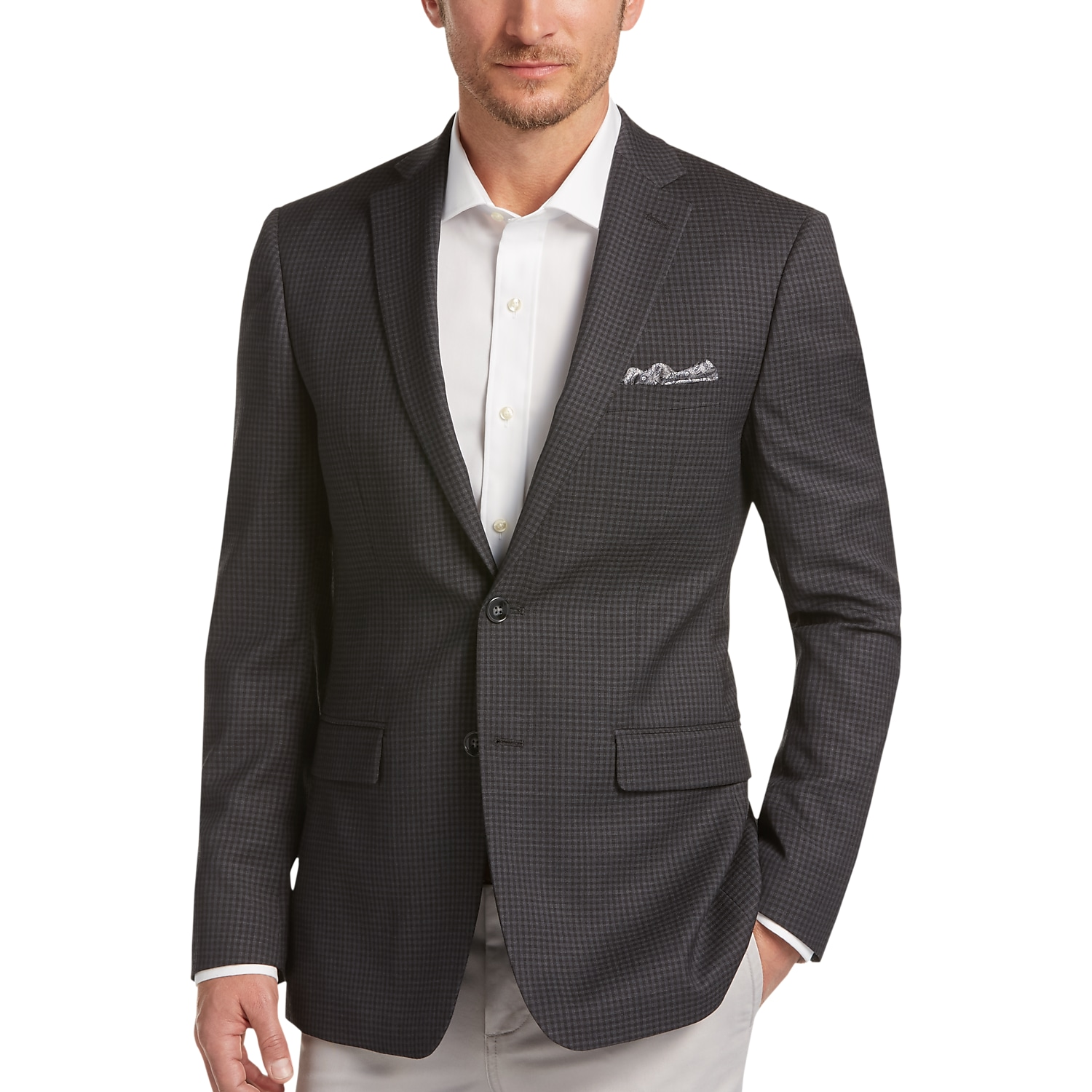 Calvin Klein Charcoal Check Extreme Slim Fit Sport Coat - Men's ...
