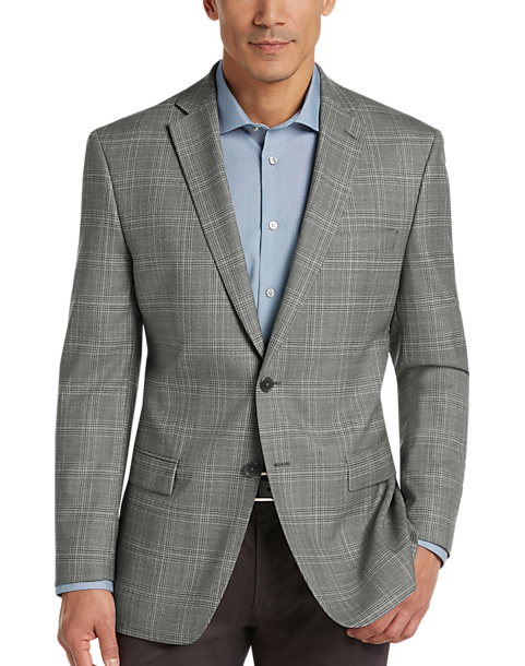 Calvin Klein Gray Plaid Slim Fit Sport Coat - Men's Blazers ...