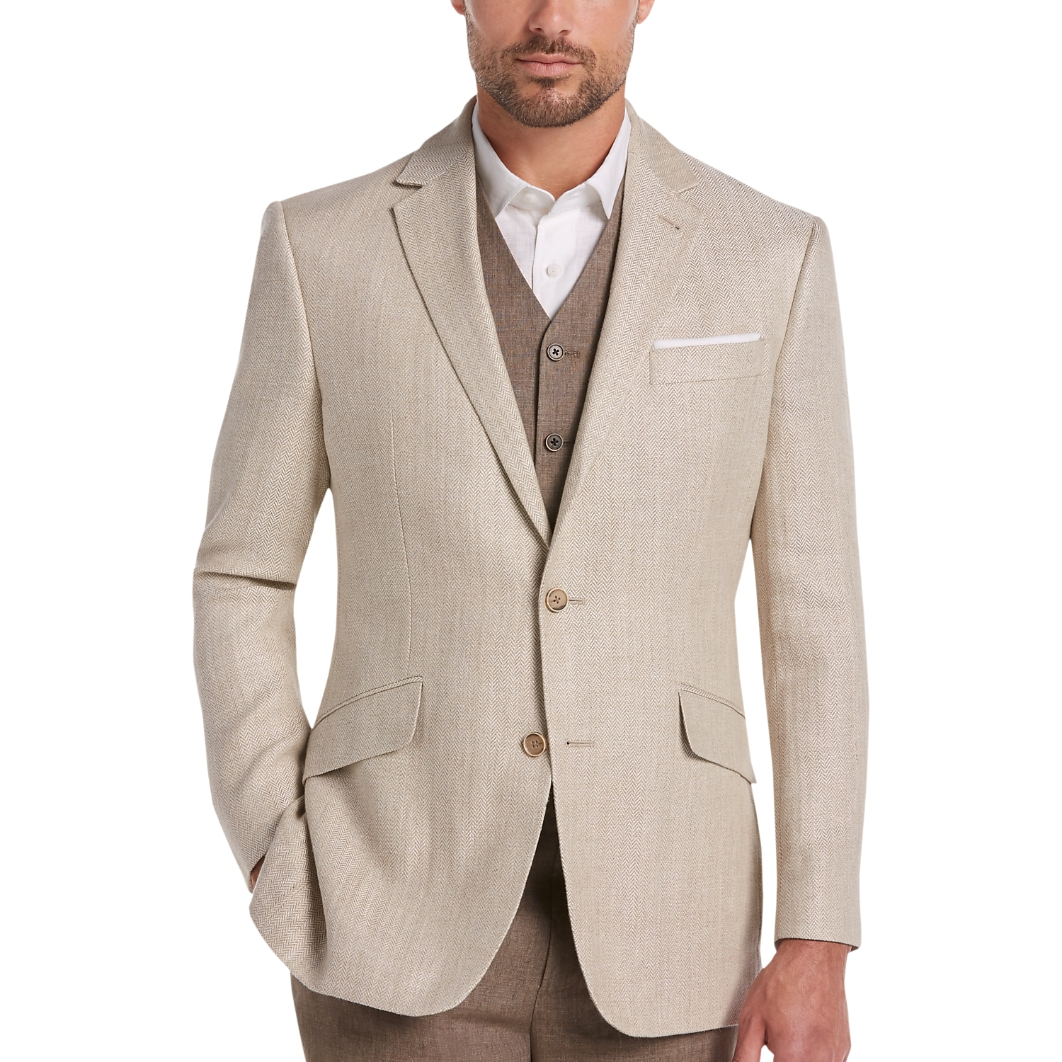Joseph Abboud Tan Herringbone Modern Fit Linen Sport Coat - Men's ...