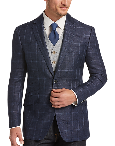 Joseph Abboud Navy Plaid Modern Fit Sport Coat - Men's Sport Coats ...