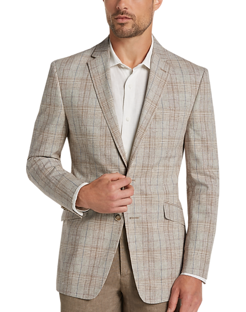 JOE Joseph Abboud Tan Plaid Slim Fit Sport Coat