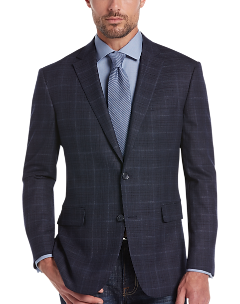 Awearness Kenneth Cole Navy Plaid Slim Fit Sport Coat - Men's ...