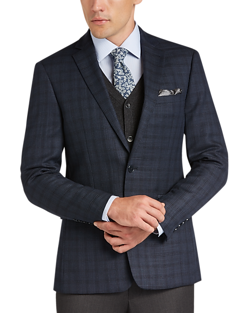 Calvin Klein Navy Plaid Extreme Slim Fit Sport Coat - Men's Sport ...