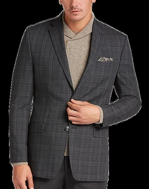 Calvin Klein Charcoal Plaid Slim Fit Sport Coat - Men's Sport ...