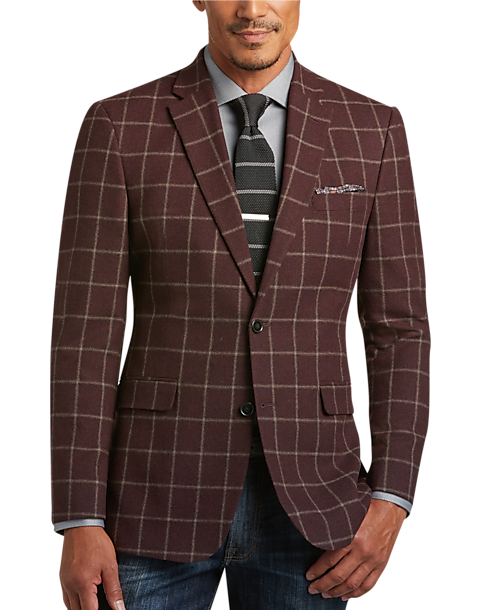 1c4a6450a Tommy Hilfiger Burgundy Windowpane Slim Fit Sport Coat - Men's ...