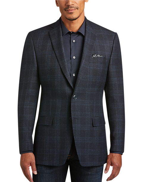Navy Plaid Slim Fit Sport Coat - Men's Sport Coats - Calvin Klein ...