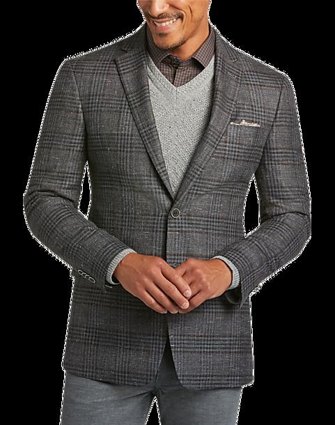 JOE Joseph Abboud Gray Plaid Slim Fit Sport Coat - Men's | Men's ...