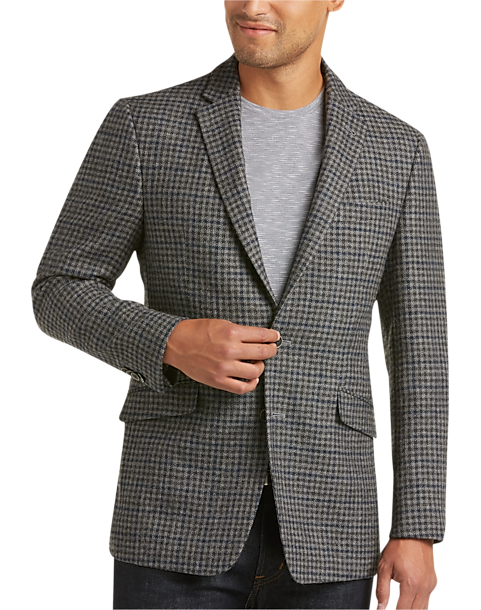 JOE Joseph Abboud Gray Houndstooth Sport Coat - Men's Blazers ...
