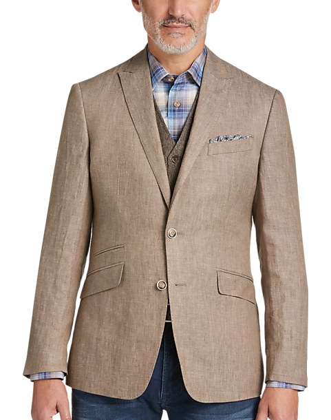 JOE Joseph Abboud Taupe Slim Fit Linen Sport Coat - Men's Sport ...