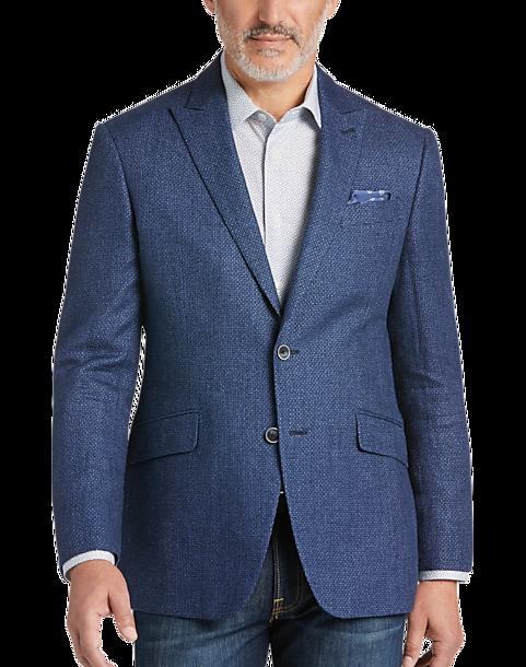 Joseph Abboud Blue Woven Check Modern Fit Sport Coat - Men's ...