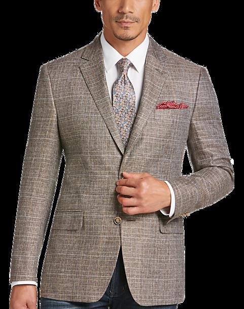 Joseph Abboud Brown Plaid Modern Fit Linen Sport Coat - Men's ...