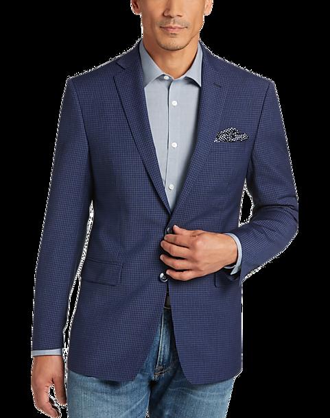 calvin klein blue check extreme slim fit sport coat men. Black Bedroom Furniture Sets. Home Design Ideas