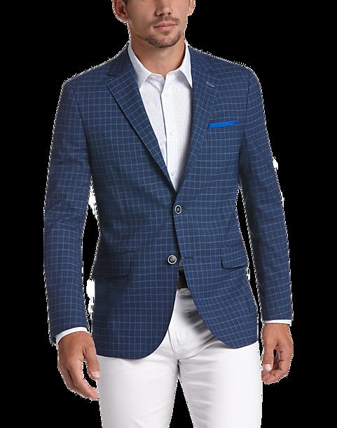 Tailorbyrd Blue Plaid Slim Fit Sport Coat - Men's Sport Coats ...