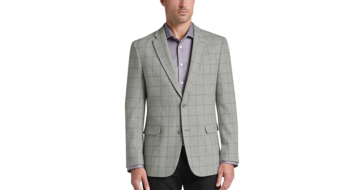 477799da3 Tommy Hilfiger Gray Windowpane Slim Fit Sport Coat - Men's Sport Coats |  Men's Wearhouse