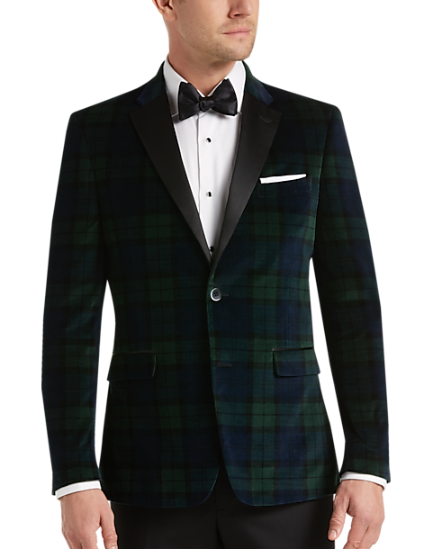 b5ed8334122b23 Tommy Hilfiger Green & Blue Plaid Slim Fit Velvet Dinner Jacket ...