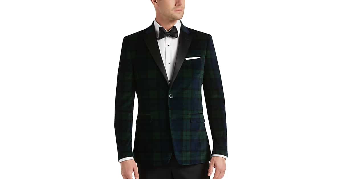 c404bedd812308 Tommy Hilfiger Green & Blue Plaid Slim Fit Velvet Dinner Jacket - Men's  Sport Coats | Men's Wearhouse