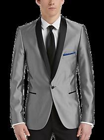 Mens Blazers Sport Coats Sale Paisley Gray Silver Mini Check Weave Slim