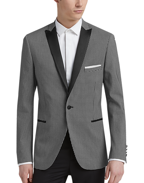 8e0d2f2361ca Paisley & Gray Black and White Check Slim Fit Dinner Jacket - Men's ...