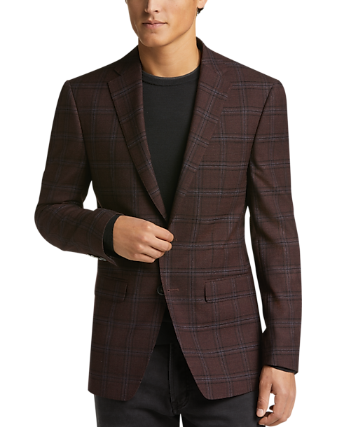 7a49b519b15c6 Calvin Klein Burgundy Windowpane Slim Fit Sport Coat - Men s Sport ...