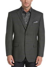 Pronto Uomo Platinum Modern Fit Sport Coat (Olive Plaid)