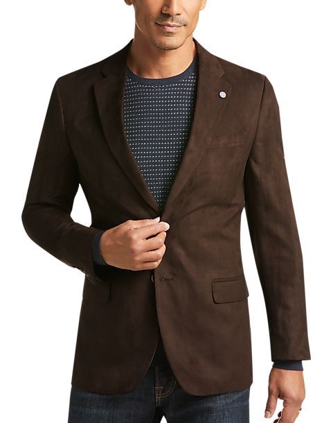 Nautica Brown Microsuede Modern Fit Sport Coat