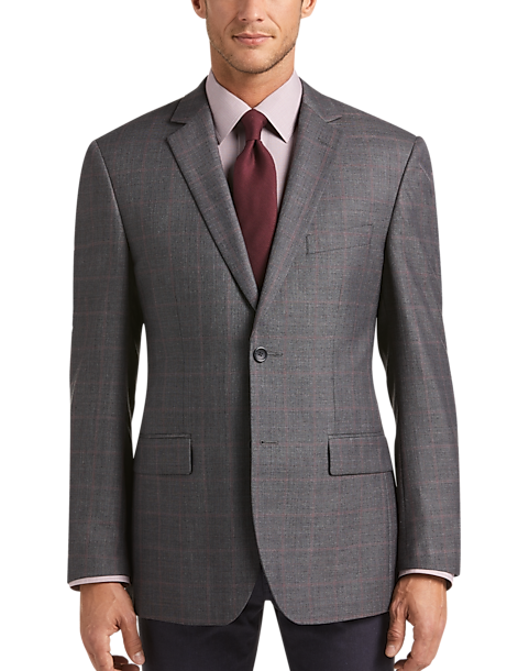 Pronto Uomo Men's Platinum Modern Fit Sport Coat (Charcoal Plaid)