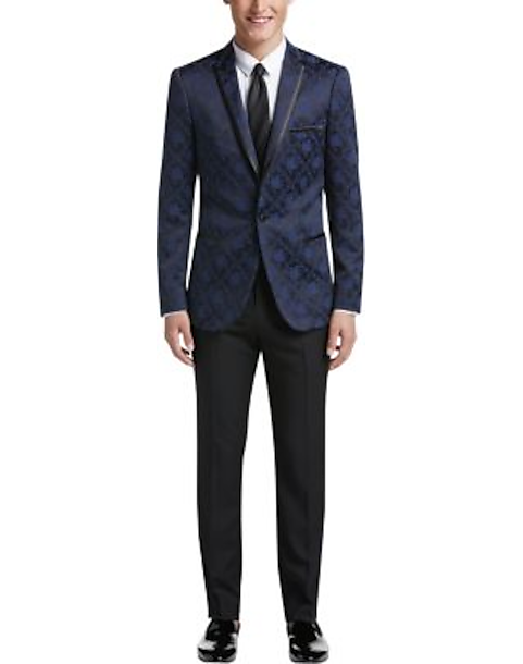Paisley Gray Slim Fit Suit Separates Dinner Jacket Blue Black