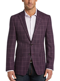 2eddc89aa7ea20 Mens Sport Coats - Calvin Klein Wine Windowpane Slim Fit Sport Coat - Men's  Wearhouse
