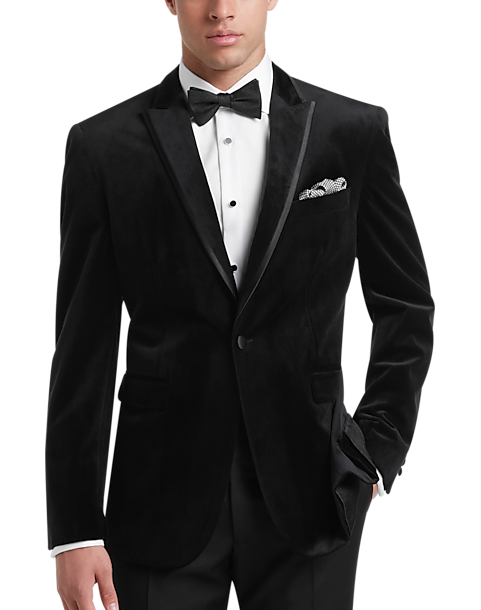 93e174cc55f Egara Black Velvet Slim Fit Dinner Jacket - Men's Suits | Men's ...