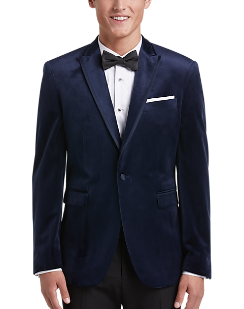 5b1238019 Egara Navy Slim Fit Velvet Dinner Jacket