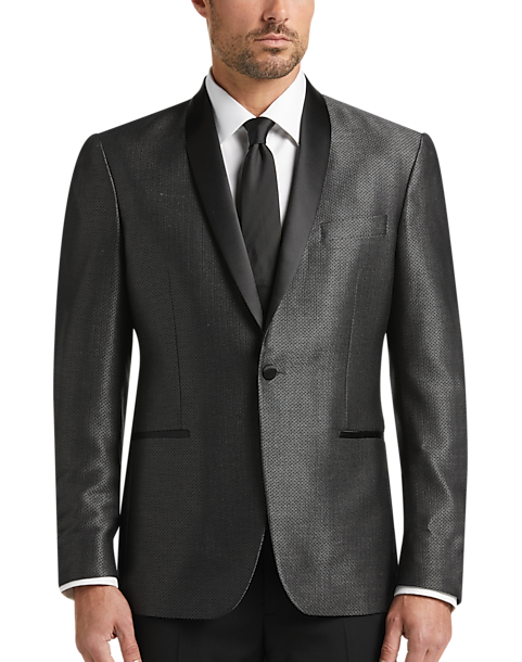 6db967745e9680 Awearness Kenneth Cole Black & Gray Diamond Slim Fit Dinner Jacket ...