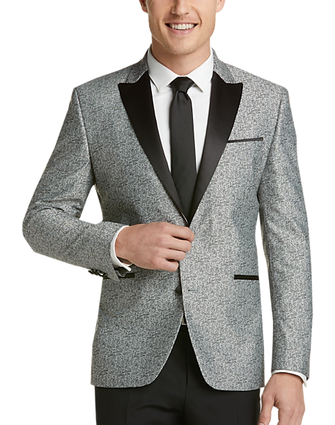choose best clearance sale bright in luster Awearness Kenneth Cole Gray Paisley Slim Fit Dinner Jacket