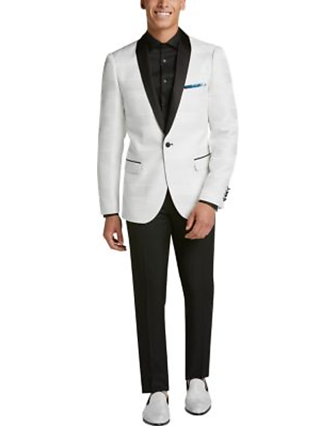 cb18a268266e Paisley & Gray Slim Fit Dinner Jacket, White Jacquard - Men's Suits ...