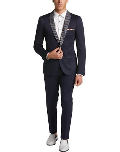 044fd6b78 Paisley & Gray Slim Fit Dinner Jacket, Navy Diamond