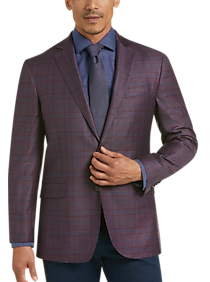 Joseph Abboud Plum Plaid Modern Fit Sport Coat (Plum Plaid / Blue Plaid)
