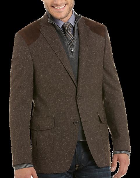 Tallia Brown Donegal Tweed Slim Fit Sport Coat - Men's Slim Fit ...