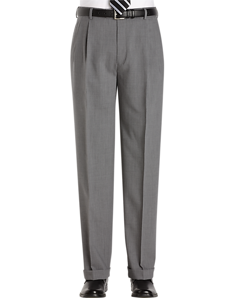 Mens Classic Fit Solid Light Gray Pleated Wool Dress Pants