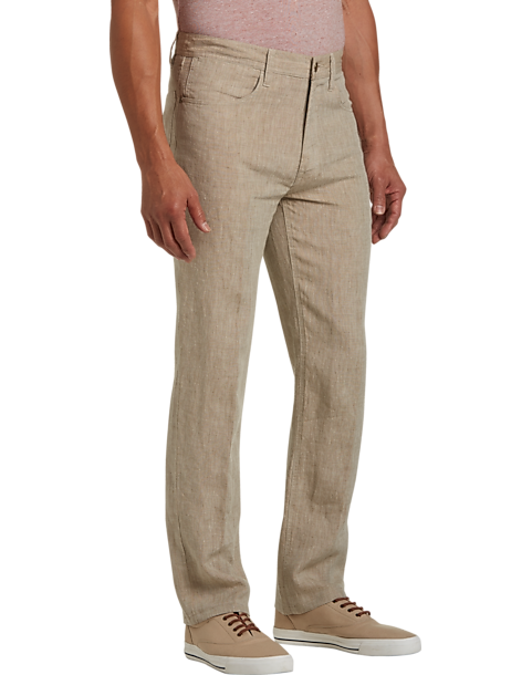 Joseph Abboud Tan Modern Fit Linen Pants Mens Mens Wearhouse