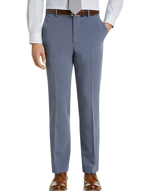Egara Blue Herringbone Slim Fit Dress Pants