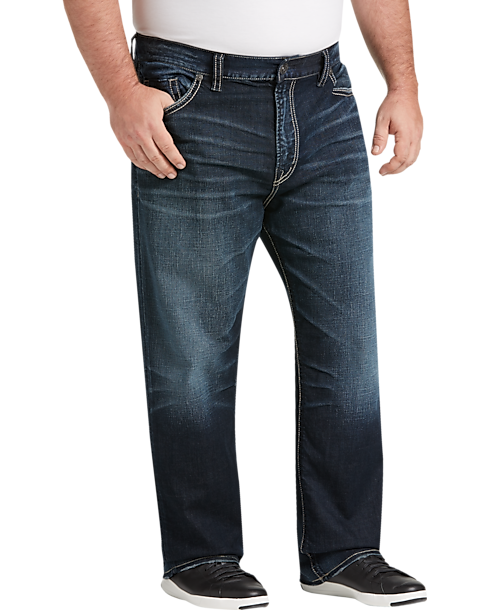 Big Tall Silver Jeans Co Eddie Dark Blue Wash Relaxed Fit Jeans