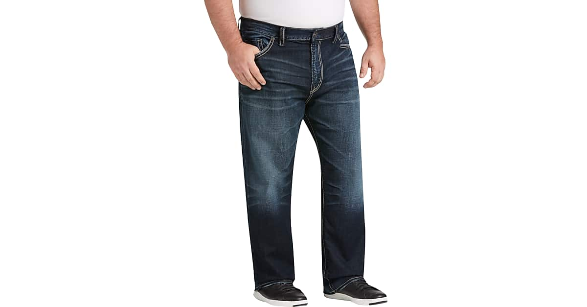 f1a4d689 Big & Tall Silver Jeans Co. Eddie Dark Blue Wash Relaxed Fit Jeans - Men's  Pants | Men's Wearhouse