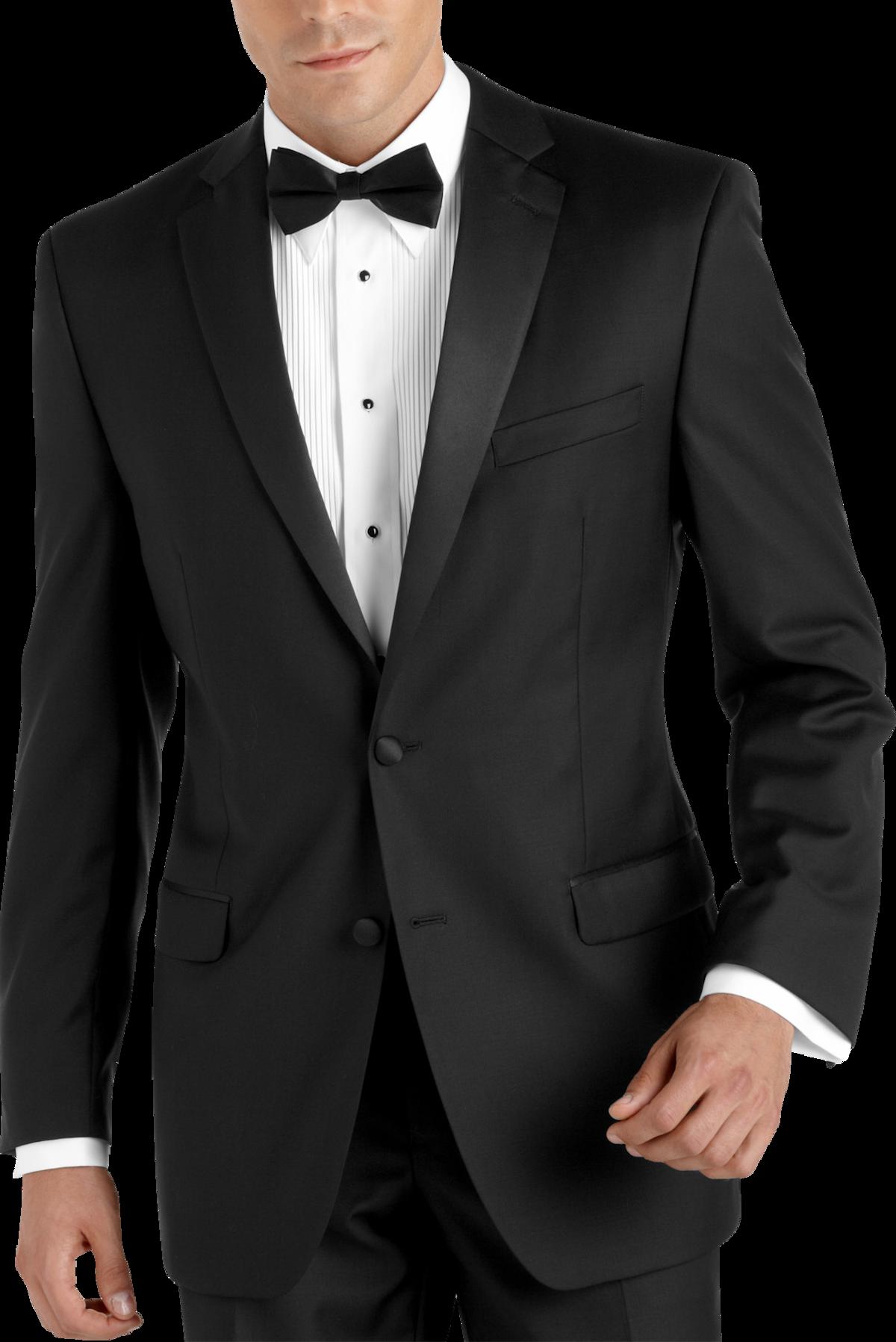 100% wool black slim fit tuxedo - men's tuxedos - calvin klein