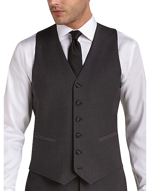3ee56f67047 BLACK by Vera Wang Charcoal Slim Fit Tuxedo Vest - Men's Suits | Men's  Wearhouse
