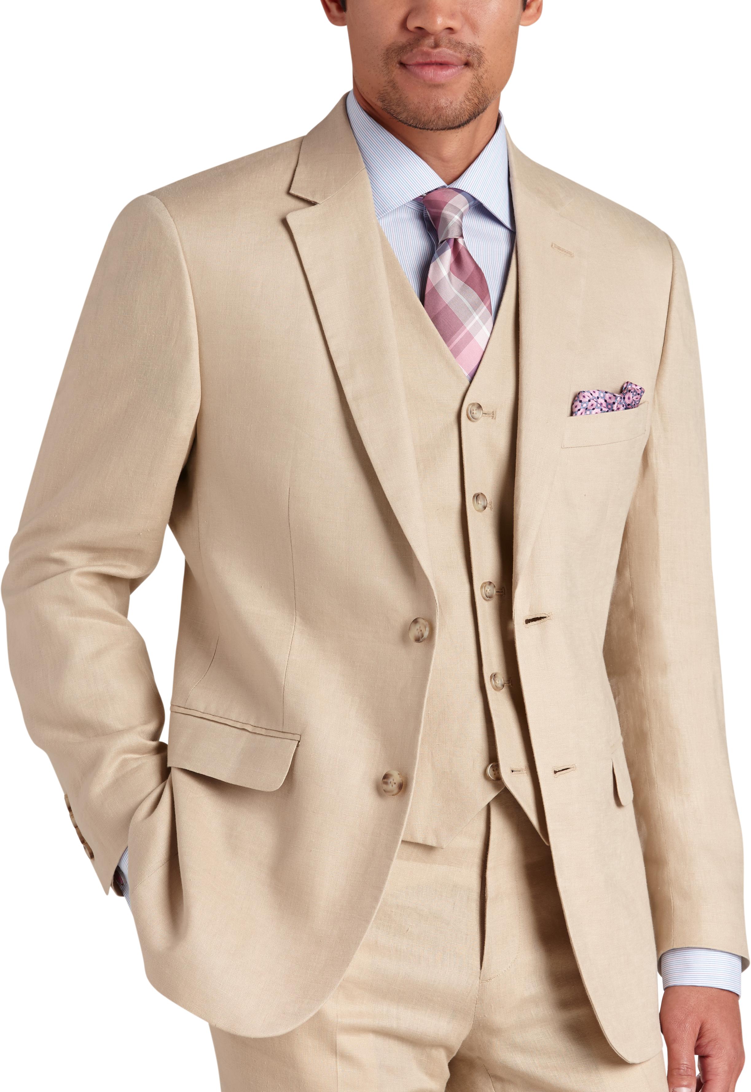 To Uomo Platinum Modern Fit Linen Suit Separates Coat Tan Mens Home Men S